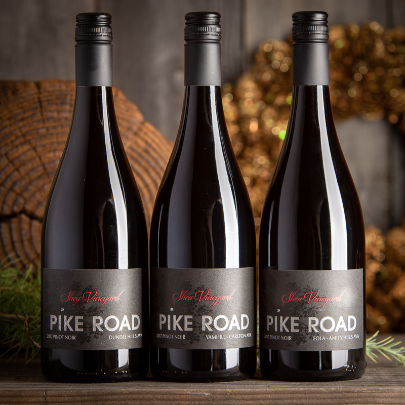 three bottles of pinot noir